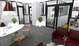 cloisonnement bureaux plan 3D